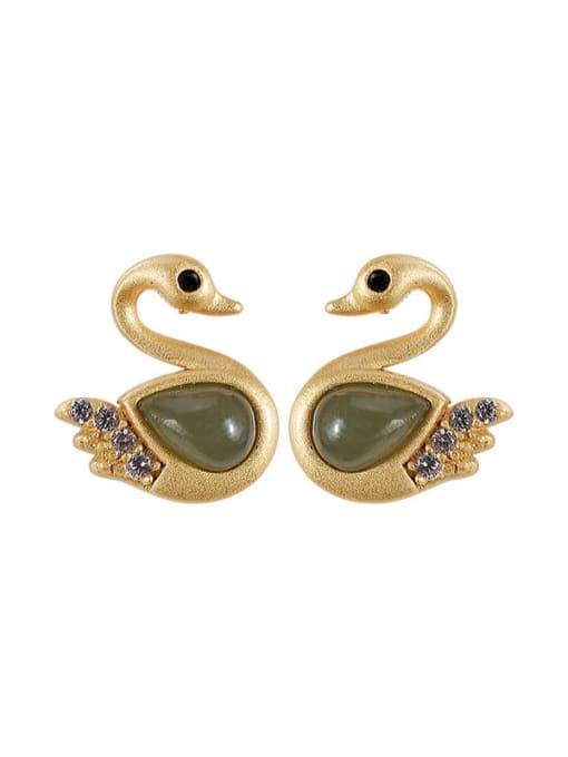 DEER 925 Sterling Silver Jade Swan Vintage Stud Earring