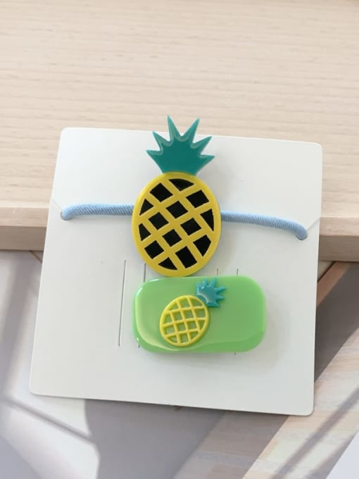 9 Green pineapple Alloy Acrylic Cute Children cartoon animal fruit Hairpin Rubber band Set