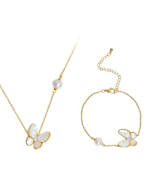 RAIN Brass Shell Cute Butterfly  Braclete and Necklace Set 2