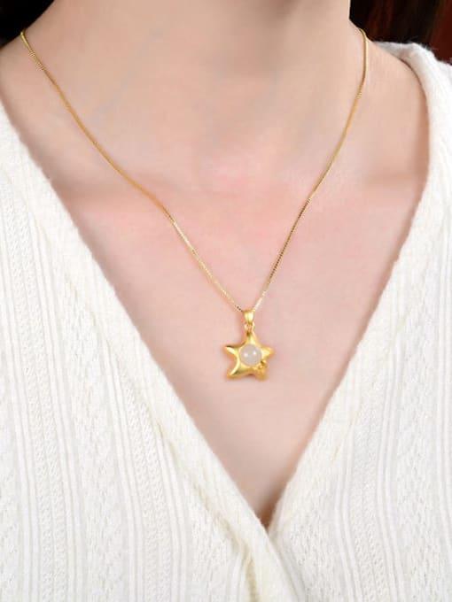 DEER Star 925 Sterling Silver Jade Vintage Pendant 1