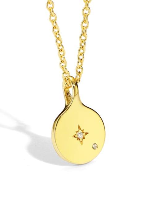 Gold coin Star Necklace Brass Rhinestone Geometric Minimalist Cuban Necklace