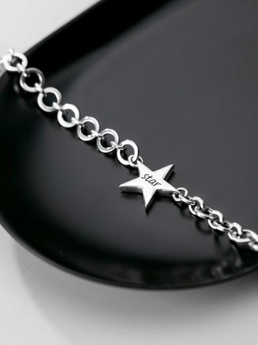 Rosh 925 Sterling Silver  Minimalist  Pentagram hollow chain Link Bracelet 2
