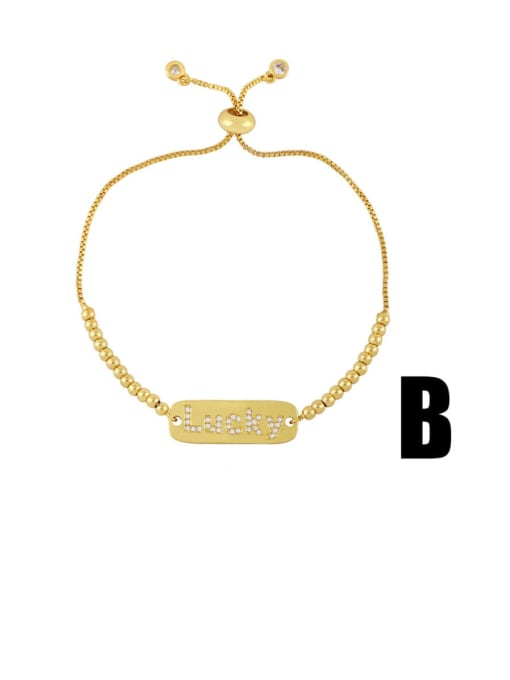 B Brass Cubic Zirconia Moon Vintage Link Bracelet