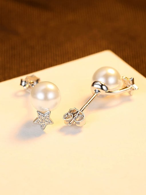 platinum 925 Sterling Silver Cubic Zirconia Geometric Minimalist Stud Earring