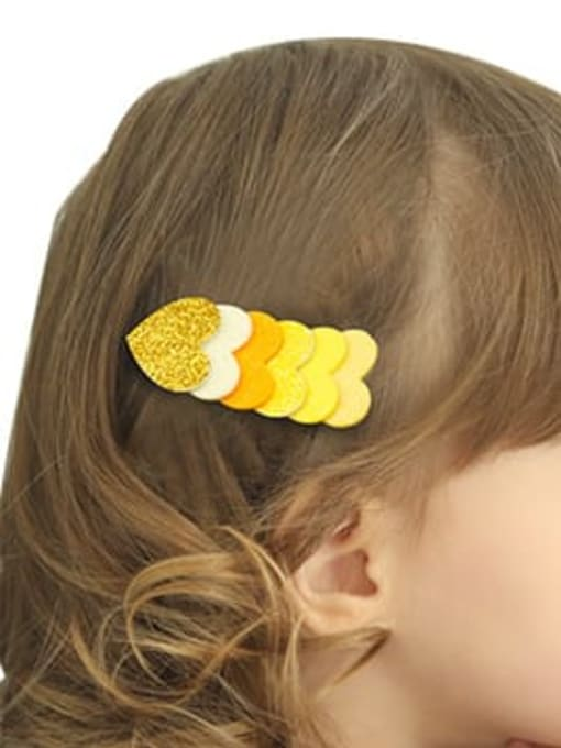 YOKI KIDS Alloy  Fabric Cute Heart Multi Color Hair Barrette 1