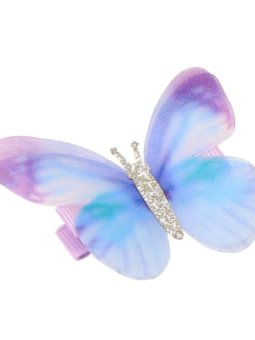 11 Alloy Fabric Cute Butterfly  Multi Color Hair Barrette