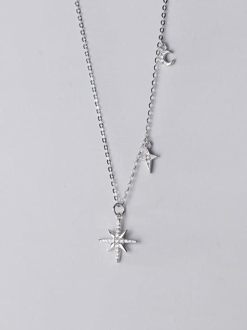 Rosh 925 Sterling Silver Cubic Zirconia Flower Minimalist Necklace 4
