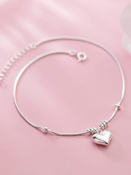 Rosh 925 Sterling Silver Heart Minimalist Link Bracelet 2