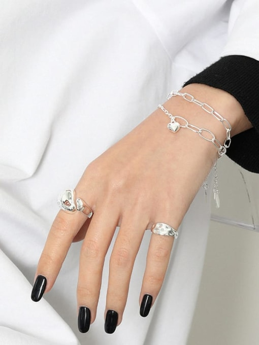 DAKA 925 Sterling Silver Hollow Geometric Chain  Minimalist Link Bracelet 2