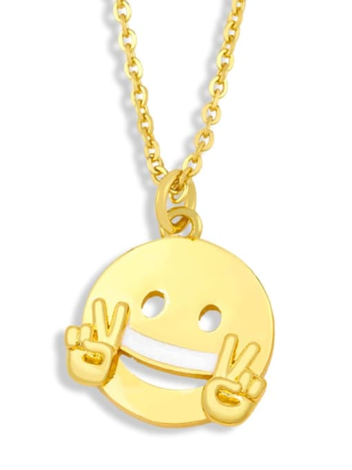 CC Brass Enamel Geometric Hip Hop Necklace 2