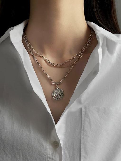 A TEEM Titanium Steel Geometric Vintage Multi Strand Necklace 3
