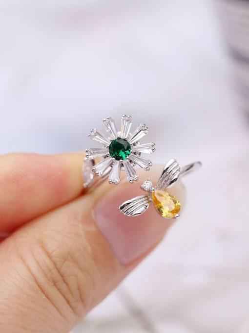 Luxu Brass Cubic Zirconia Flower Minimalist Band Ring 2