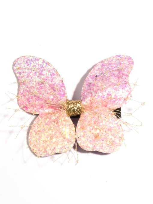 2 Pink Butterfly Alloy Fabric Cute Bowknot Multi Color Hair Barrette