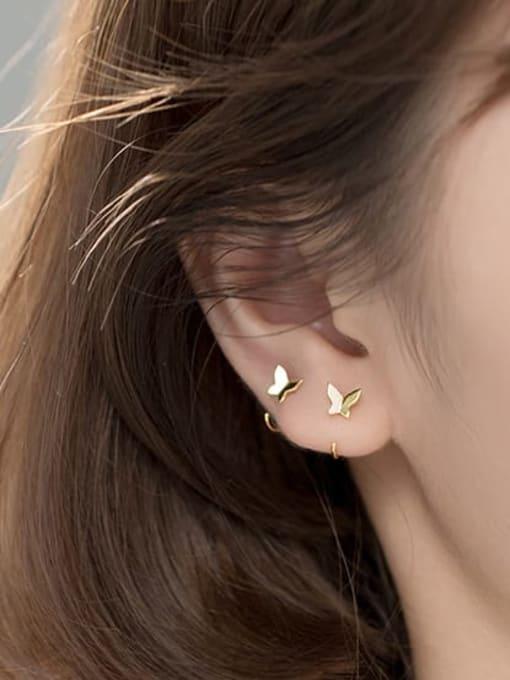 Rosh 925 Sterling Silver Butterfly Minimalist Hook Earring 3