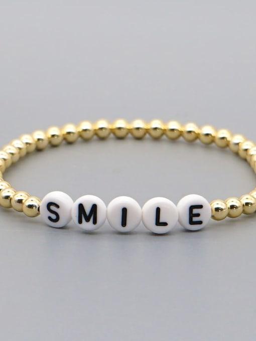 QT B200015R Stainless steel Bead Acrylic Letter Bohemia Beaded Bracelet