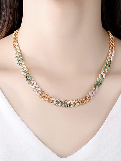 BLING SU Copper Cubic Zirconia Geometric Luxury Necklace 1
