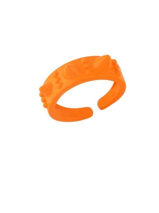 orange Brass Enamel Geometric Hip Hop Band Ring