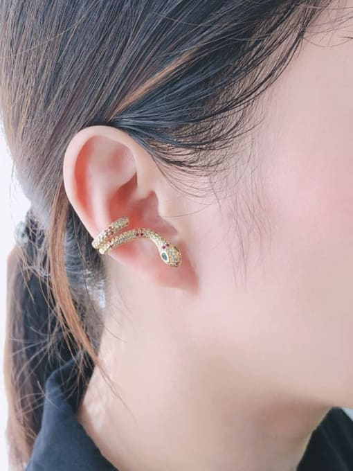 CC Brass Cubic Zirconia Snake Vintage Stud Earring 1