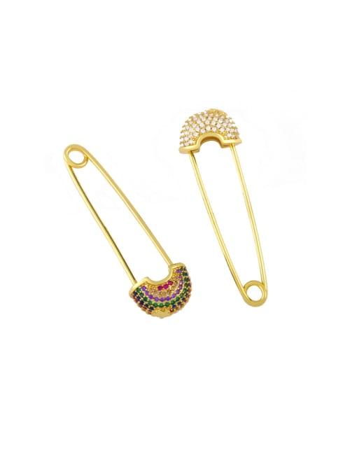 CC Brass Cubic Zirconia Geometric Pin Hip Hop Huggie Earring 0