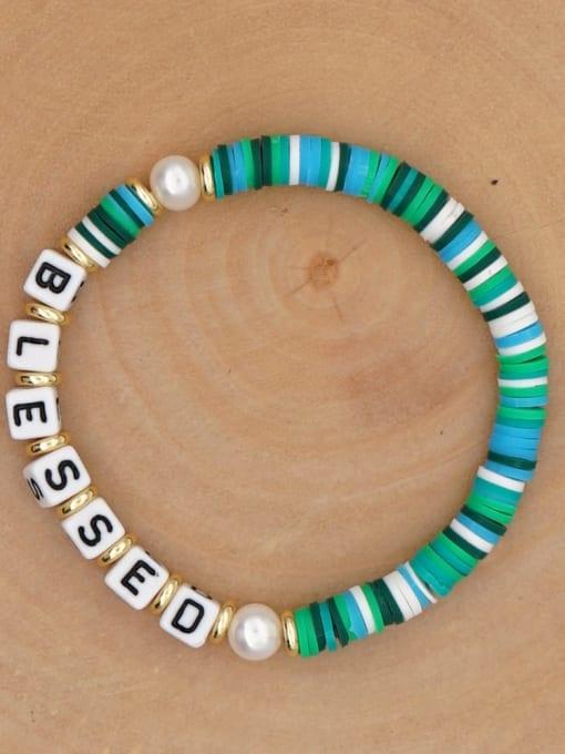 QT B200146I Stainless steel Freshwater Pearl Multi Color Polymer Clay Letter Bohemia Handmade Weave Bracelet