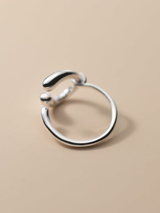 Rosh 925 Sterling Silver Hollow Geometry  Minimalist Band Ring 2