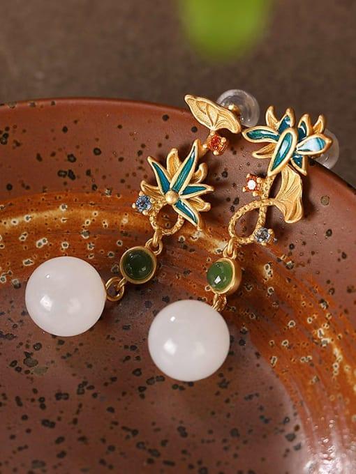 DEER 925 Sterling Silver Jade Enamel Flower Vintage Drop Earring 2
