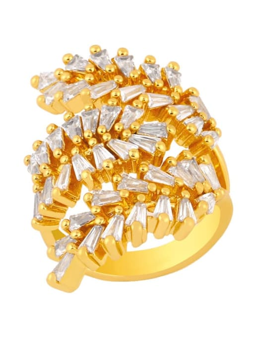 gold Brass Cubic Zirconia Leaf Dainty Band Ring