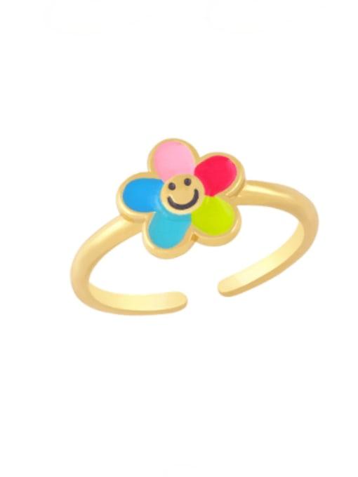 colour Brass Enamel Smiley Minimalist Band Ring
