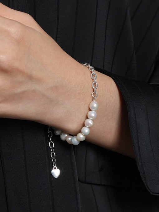 DAKA 925 Sterling Silver Imitation Pearl Geometric Vintage Link Bracelet 3