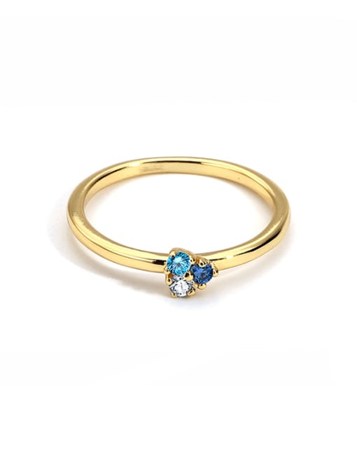 CHARME Brass Cubic Zirconia Flower Minimalist Band Ring 0