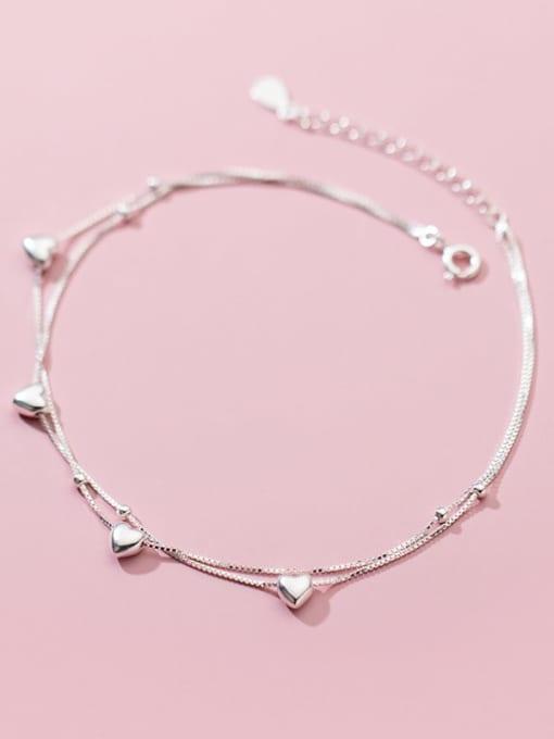 Rosh 925 Sterling Silver Heart Minimalist Strand Bracelet