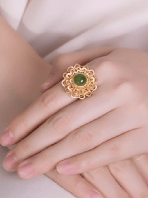 DEER 925 Sterling Silver Jade Flower Vintage Band Ring 1