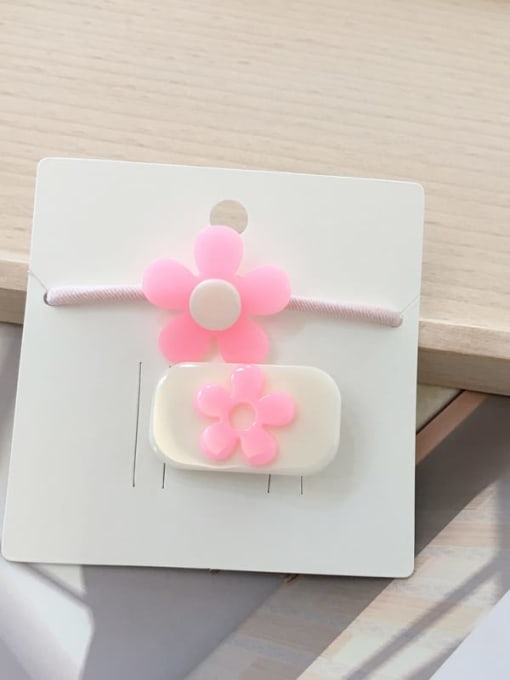22 pink flowers Alloy Acrylic Cute Children cartoon animal fruit Hairpin Rubber band Set