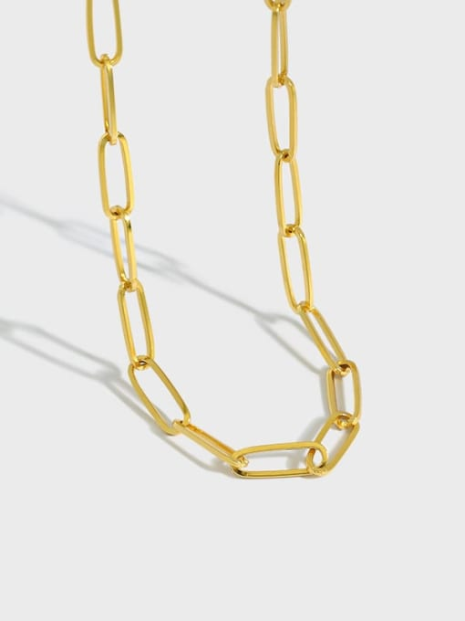DAKA 925 Sterling Silver Hollow Geometric Chain Vintage Necklace