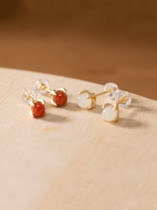 DEER 925 Sterling Silver Jade Cute Round Ball  Stud Earring