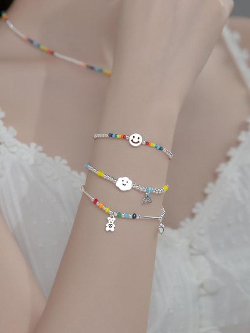 Rosh 925 Sterling Silver Multi Color Round Minimalist Stretch Bracelet 1