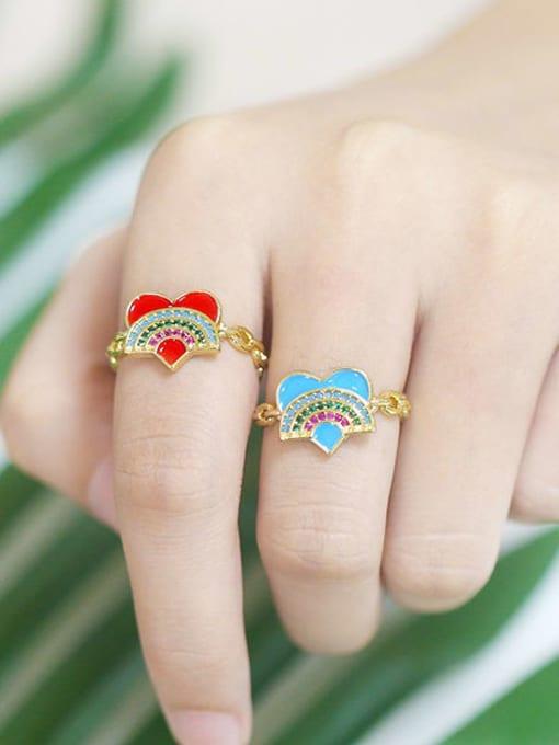 CC Brass Enamel Rainbow Vintage Band Ring 1