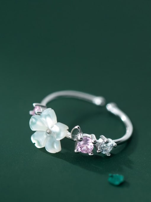 Rosh 925 Sterling Silver Resin Flower Vintage Band Ring 0