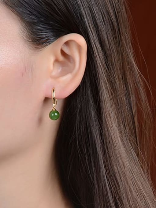 DEER 925 Sterling Silver Jade Geometric Vintage Hook Earring 1