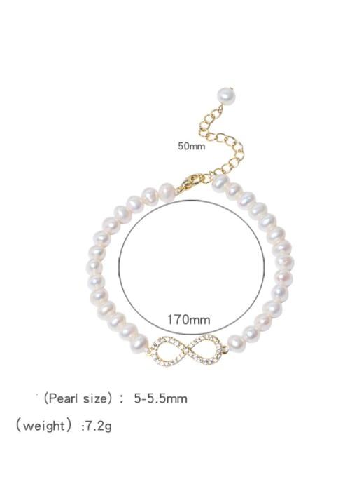 RAIN Brass Freshwater Pearl Number 8 Minimalist Beaded Bracelet 3