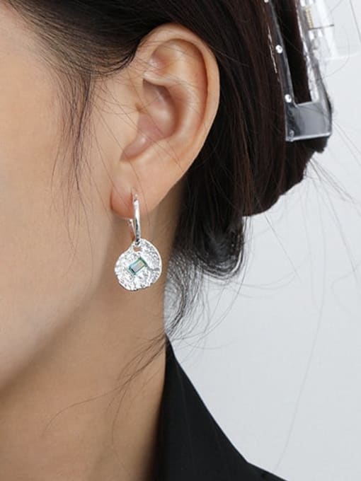 DAKA 925 Sterling Silver Cubic Zirconia Geometric Vintage Huggie Earring 2