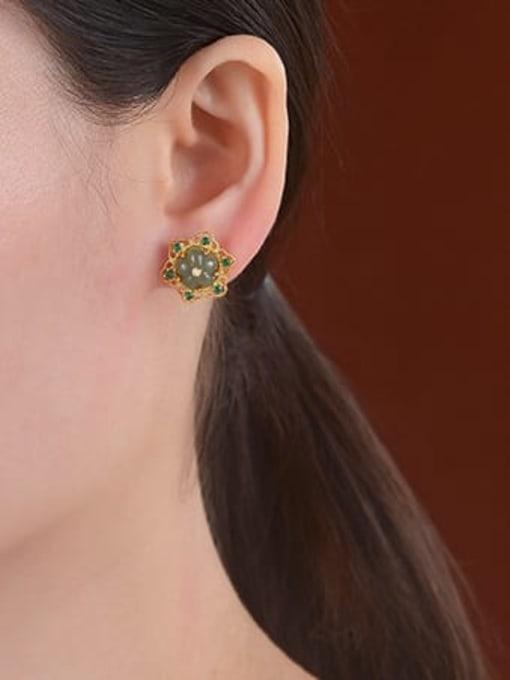 DEER 925 Sterling Silver Jade Flower Vintage Stud Earring 1
