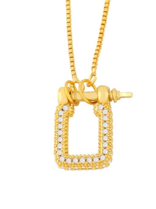A Brass Cubic Zirconia Geometric Vintage Necklace