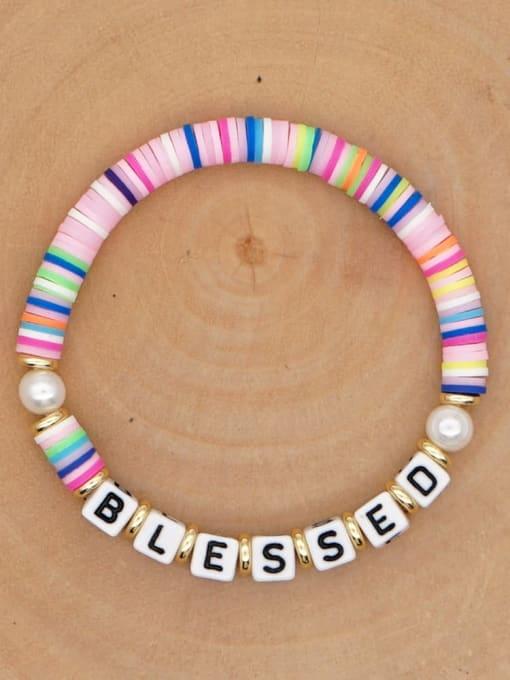 QT B200146C Stainless steel Freshwater Pearl Multi Color Polymer Clay Letter Bohemia Handmade Weave Bracelet