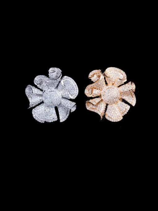 L.WIN Brass Cubic Zirconia Flower Luxury Statement Ring 4