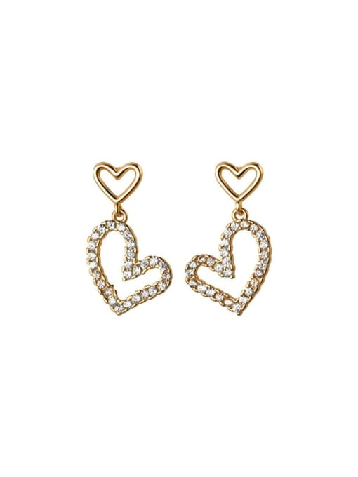 Rosh 925 Sterling Silver Cubic Zirconia Heart Minimalist Drop Earring 3