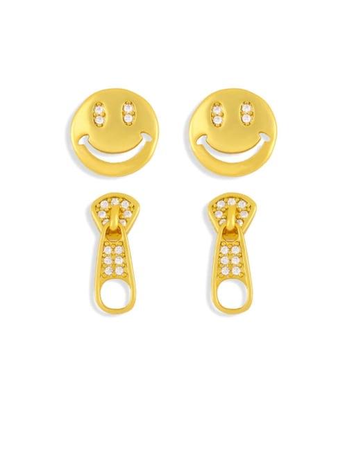 CC Brass Cubic Zirconia Smiley Vintage Stud Earring 1
