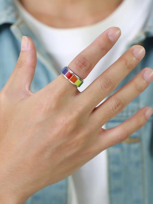 CONG Titanium Steel Enamel Round Minimalist Band Ring 1