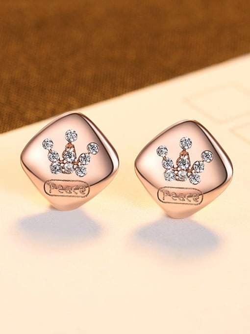 Rose Gold 23B11 925 Sterling Silver Rhinestone Square Minimalist Stud Earring