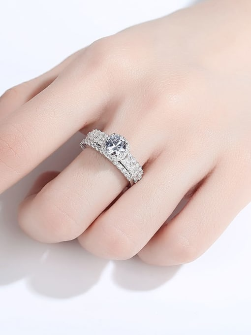 CCUI 925 Sterling Silver Cubic Zirconia Geometric Dainty Stackable Ring 1